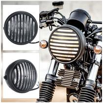 Farol Preto Com Grade Motos Custom Chopper Harley Davidson