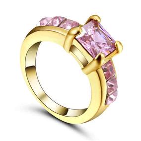 G Aro 18 Anel Feminino Beleza Rosa 3banho Ouro 205 B D