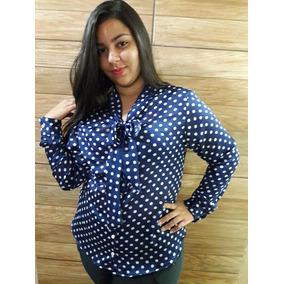 # Blusa Retrô Social - Poá - Plus Size (do 42 Ao 54) #