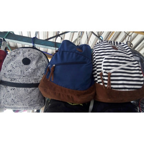 Morral De Dama Bag Pack Azul Navy Carteras Lona