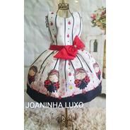 Vestido Temático Luxo Joaninha Festa Fantasia Aniversário