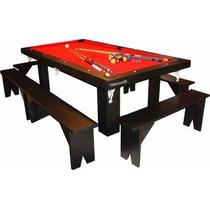 Mesa De Pool 240 -comedor Ping Pong + 4 Bancos + Kits Yeerom