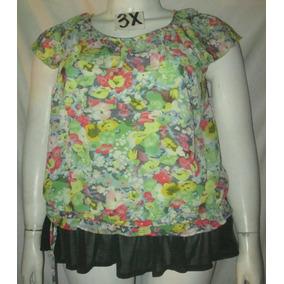 Blusa Verde Estampada Salir/vestir Talla 3x - (42/44)