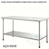 Mesa Inox Para Manipulação Alimento 190x70x80 Cm - 02 Divis