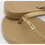 Chinelo Ouro Glitter Letreiro Colcci