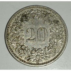 Moneda Suiza Confederación Helvética 20 Rappen 1908 B *122