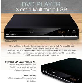 Aparelho Dvd Player 3 Em 1 Multimídia Usb Multilaser Sp252