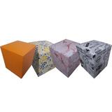 Puff Quadrado Kit Com 4 Peças Modelo Dvs - Frete Grátis