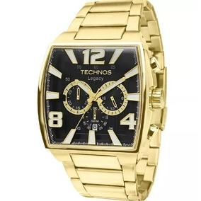 Relogio Technos Js25ar/1d Grande Quadrado Dourado Crono Wr50