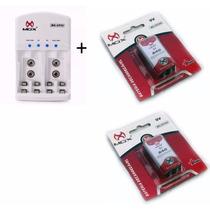 2 Baterias Recarregável 9v 240mah Mox + Carregador Rápido