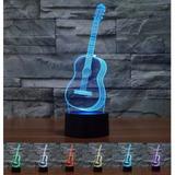 Guitarra 3d Lámpara Mesa De Luz Escritorio Lamparillas,