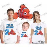 Lembrança De Aniversario Nemo Peixinho Camiseta Kit Com 3