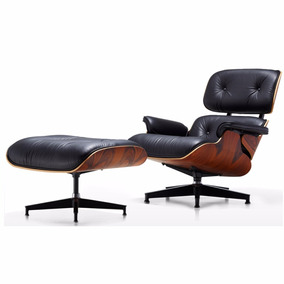 Poltrona Charles Eames Lounge Com Puff Revestimento Pu Preto