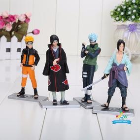 Naruto Kit 4 Boneco Uzumaki Kakashi Sasuke Itachi Ninja A074