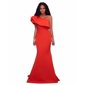 Vestido Un Hombro Sirena Naranja Fiesta Boda Graduación Moda