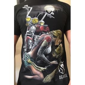 Kit 06 Camiseta Camisa Ogabel Caveira Motoqueiro Rock Chorão
