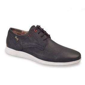 Zapato Hombre Acordonado Cuero Azul Marca Bs + Envio Gratis