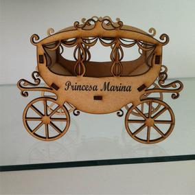 40 Carruagem Princesas Mdf Cachepô Centro De Mesa