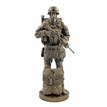 Figura Militar De Paracaidista De 32 Cm En Acabado Bronce