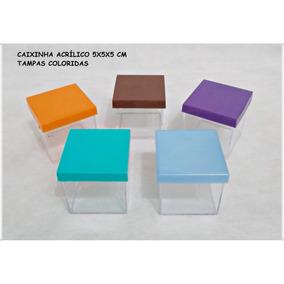 100 Caixinha Acrilico 5x5 Tampa Colorida R$ 60,00
