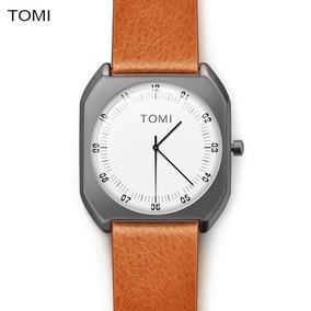Relógio Luxo Tomi Original Casual Couro Unissex Quartz Tommy
