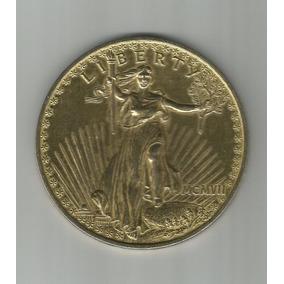 Moeda Gigante Dourada Peso De Papel Vinte Dolares - Ref001