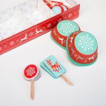 Set De Pirotines Y Pinches X 24 ( Copos De Nieve / Navidad )