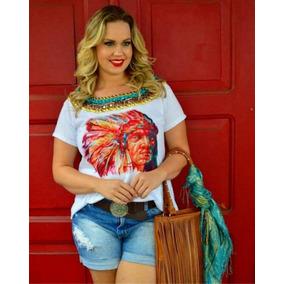 Blusa Plus Size Feminina Índio Bordada À Mão Frete Grátis