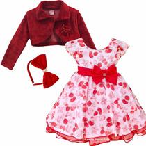 Vestido Fantasia Infantil Moranguinho Luxo Festa Com Bolero