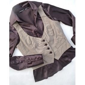 Camisa Seda Satén + Chaleco De Vestir Zara Basic Dama