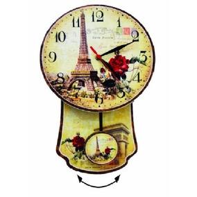 Relógio De Parede Cozinha Mdf C/ Pêndulo Retro Paris