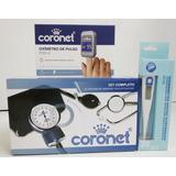 Kit Enfermeria Tensiometro Oximetro Coronet + Termometro