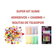 Kit Slime 10 Charms + 2 Bolsitas Telgopor + 1 Set Elmers Adh