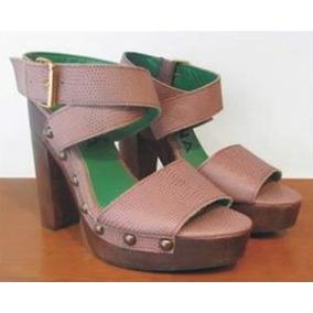 Zapatos De Mujer De Cuero - Zueco De Madera Con Plataforma