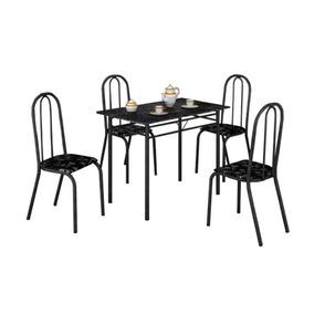 Conjunto Mesa Com 4 Cadeiras Para Cozinha Preta Em Promoção