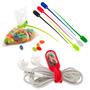 Kit X7 Multiorganizador Cables Kuce En Silicona-rojo