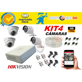 Kit 4 Camaras Hd 720p + 1tb Accesorios Hikvision