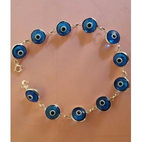 Pulseira Prata 925 Feminina Olho Grego 1 Cm Grande 18 Cm