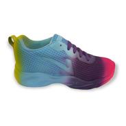 Tenis Multicolor Dama Sneakers Choclo Confort Suave Duradero