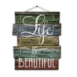 Placa Decorativa Madeira Ripas Life Is Beautiful - Cia Laser