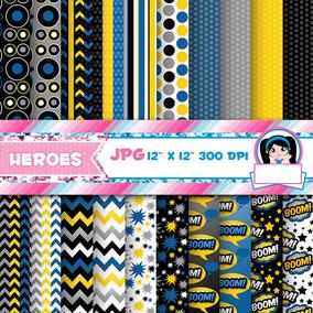 Kit Imprimible Pack Fondos Super Heroes 1 Clipart
