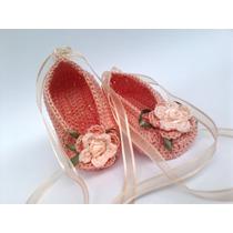 A301 Sapatinho De Croche Feminino Salmao De Menina Flor Laco