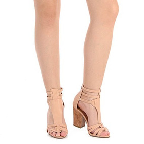 Sandália Salto Gladiadora Feminina Bebecê - Nude