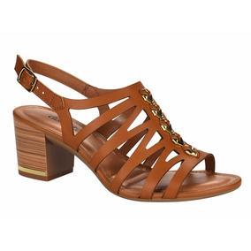 Sandália Salto Médio Quadrado Dakota Z2213 Caramelo