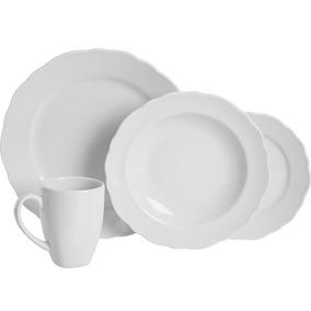 Jogo De Jantar Pratic Casa 16 Peças Cerâmica, Branco
