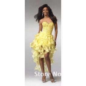 Vestido Fiesta Amarillo Con Lenteluelas Nuevo