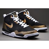 Tênis Nike Air Flight 2013 Black/gold Retro - Pronta Entrega