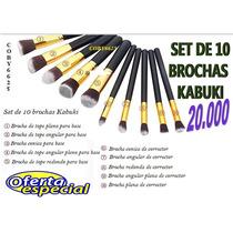 Set De 10 Brochas Kabuki Maquillajes Oferta!!!