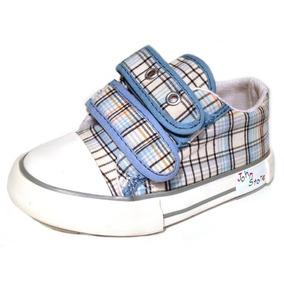 Zapatillas De Tela Lona Con Abrojos Escocesa Varon 21-26