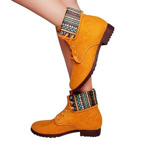 Bota Feminina Coturno Mostarda Fashion Lindo E Confortável